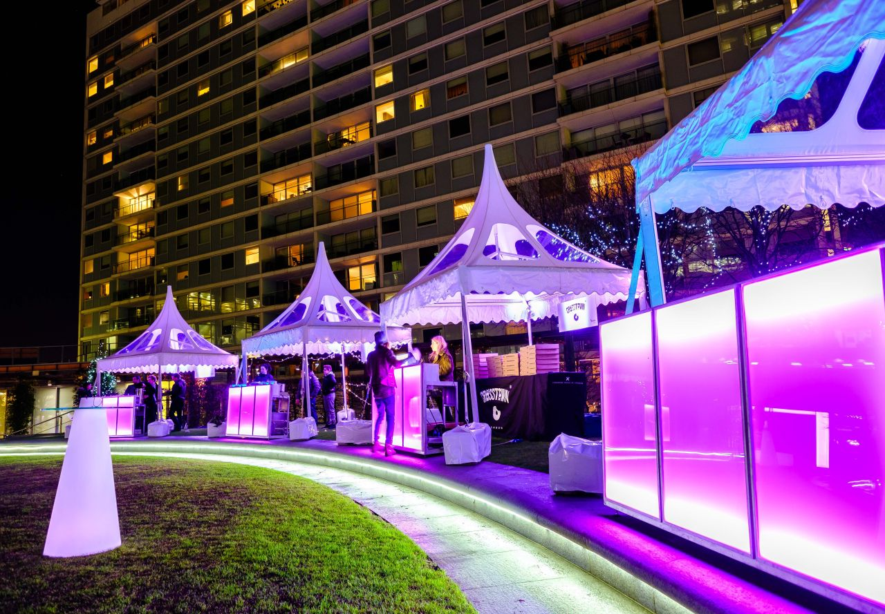 2.2m bars with pink LED set 2 metres apart for outdoor bar area