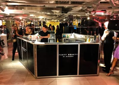 4.5m Contemporary Centrepiece LED Bar for Fenty Beauty, Rihanna at Harvey Nichols Knightsbridge, London   Ice & Lime Mobile Bar Hire   500 guests