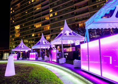 2.2m Contemporary LED Bars under 3m pagodas in Victoria, London | Ice & Lime Mobile Bar Hire