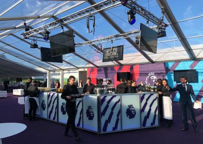 6.5m Centrepiece Contemporary LED Bar for The Premier League   Ice & Lime Mobile Bar Hire