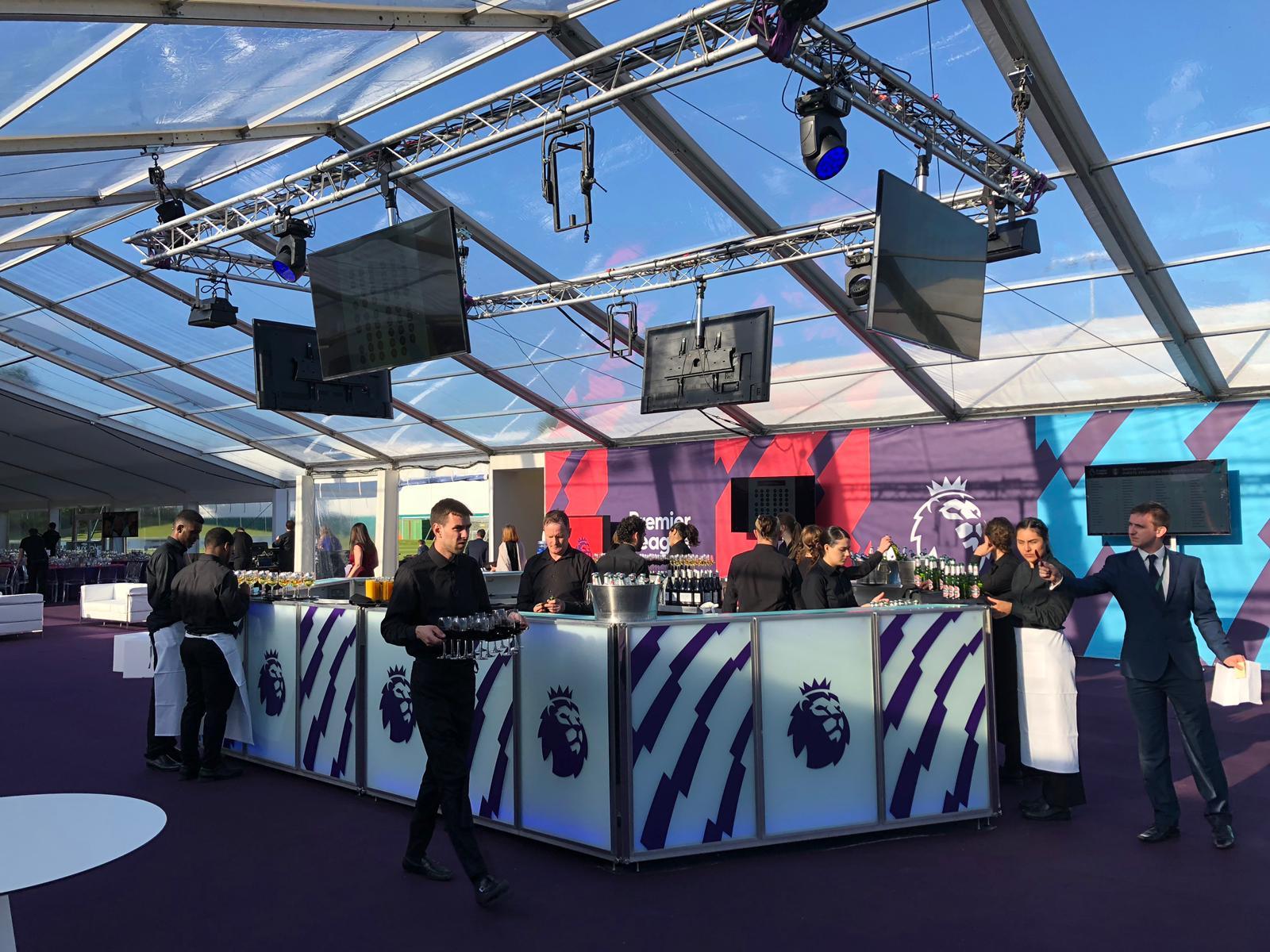 6.5m Centrepiece Contemporary LED Bar for The Premier League | Ice & Lime Mobile Bar Hire