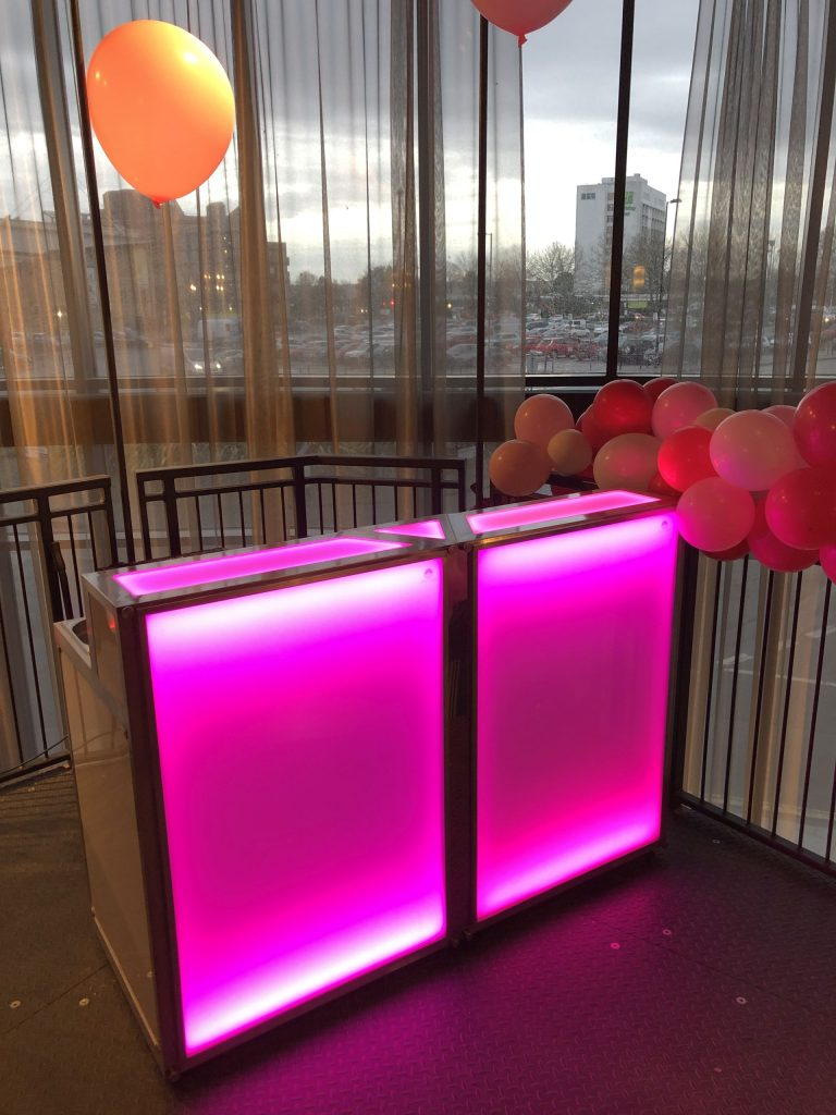 1.6m straight bar with pink LED lighting, ice well, chopping board, power points and small fridge