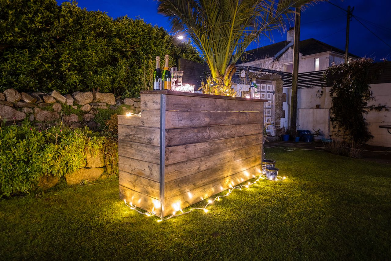 Rustic Bar 2 metres wide with fridge and fairy lights to go with wooden, vintage or rustic theme